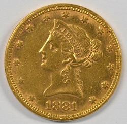1881 US $10 Liberty Gold Piece