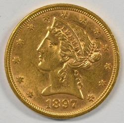 Lovely 1897 US $5 Liberty Gold Piece
