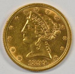 Beautiful 1899 US $5 Liberty Gold Piece