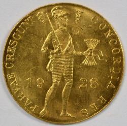 BU 1928 Netherlands I Ducat Gold Piece. Better date