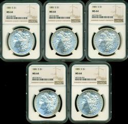 5 Nearly Gem BU 1881-S Morgan Silver Dollars. NGC MS64