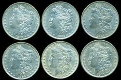 6 Diff. Nicer Morgan Silver Dollars 1879 to 1901-O