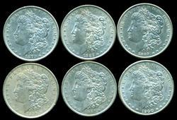 6 Diff. Nicer Morgan Silver Dollars 1879 to 1900