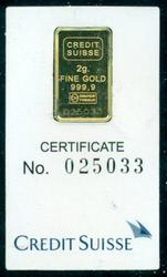 Serial-Numbered 2 gram pure .9999 Credit Suisse gold bar