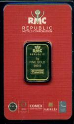 RMC pure .9999 Fine Gold 5 gram bar in plastic
