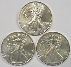 3 Better date Superb Gem BU 1997 $1 Silver Eagles