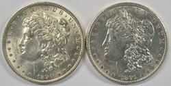 Flashy lustrous 1890-O & 1891-P Morgan Silver Dollars