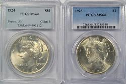 Virtual Gem BU 1924 & 1925 Peace Dollars. PCGS MS64