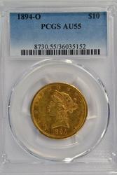 Scarce near mint 1894-O $10 Liberty Gold. PCGS AU55