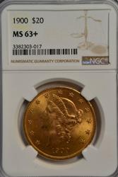 Super Choice BU 1900 $20 Liberty Gold Piece. NGC MS63+