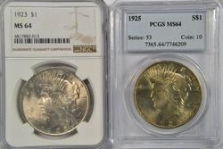 1923 (NGC MS64) & 1925 (PCGS MS64) Peace Silver Dollars