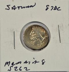 Great Roman Republic Silver Denarius of Saturn, 87 BC