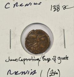 Roman Republic Silver Denarius: Juno Capritania, 138 BC