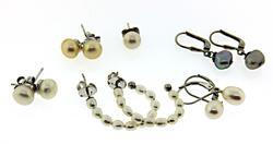Lot of Sterling Silver Pearl Earrings