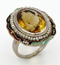 Victoria Antique 6.4ctw citrine & pearl ring
