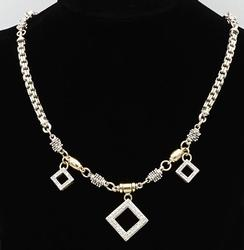 Gold and Sterling Vintage Diamond Necklace