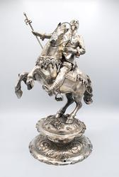 Majestic Large German Silver Horseman Sculpture