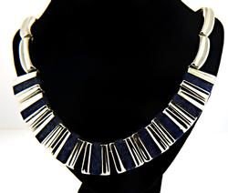 Vintage Sterling Silver Mexico Lapis Necklace