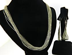 Liquid Silver Set of Necklace and Earrings