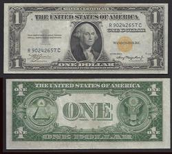 Bright yellow seal on this $1 1935-A North Africa Unc