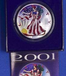 2001 Colorized Silver Eagle