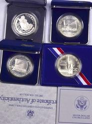 4 x US Commem Silver Dollars