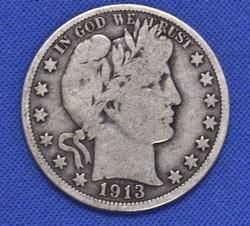 Great Date 1913 50c Circulated