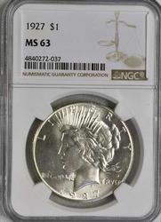 1927 MS63 Peace Silver Dollar, Blast White