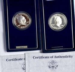 Pair of 1991 Ike Silver Dollar Commems in Proof
