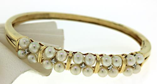 Amazing Pearl and Diamond Accent Bangle