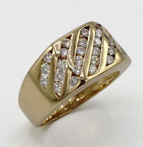 Gents 14KT Yellow Gold Multi Row Diamond Ring