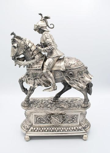 German Silver Jeweled Knight Circa 1920's