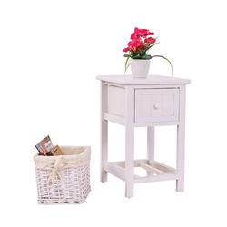2 Layers White Bedside Table Stand w/ Wicker Storage