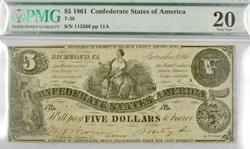 1861 $5 Confederate Note, PMG VF25
