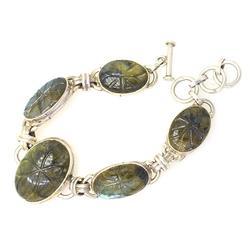 Amazing Carved Iridescent Quartz Bracelet, Sterling
