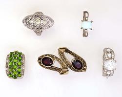 Five Rings in Sterling, Opal, Garnet, Etc