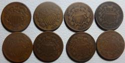 1864-1867 United States Two Cents Assorted Conditions 7 Coin Lot