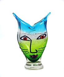 Murano Cristalleria Abstract Cat Face Art Glass Vase