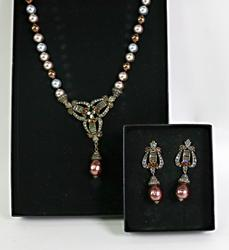Set of Multi Pearl and Crystal Earrings and Necklace