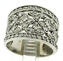 Floral Diamond Wide Band Ring