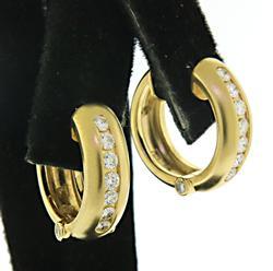 Gorgeous Channel Set Diamond Hoop Earrings