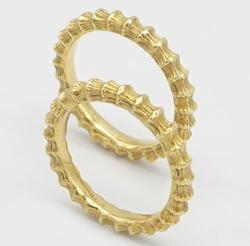 Set of 2 Solid 18kt Yellow Gold Rings