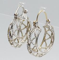 14kt White Gold Woven Hoop Earrings