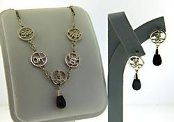 Set of Black Onyx Necklace and Earrings