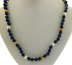 Lapis and Pearl Necklace with Hoop Earrings