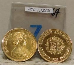 2 each 1972 British Wedding Anniv Crowns - gold plated