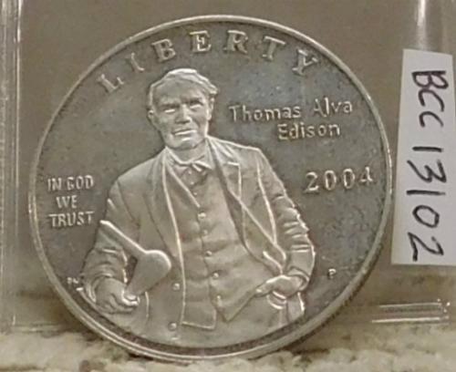 2004 Silver PROOF Edison  Dollar:  no box, no papers