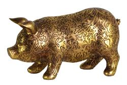 Resin Standing Pig Figurine with Engraved Floral Design