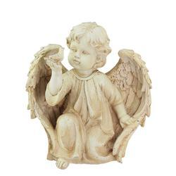 10.25in Ivory Cherub Angel on Knee with Dove Outdoor Garden Statue