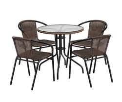 Round Glass Metal Table and 4 Dark Brown Rattan Stack Chairs